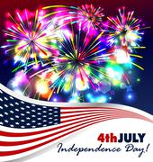 4th of July independence day background - stock illustration