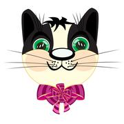 Head kitty with bow - stock illustration