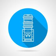 Portable water cooler blue round vector icon - stock illustration