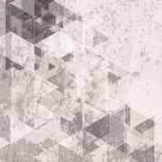 Grunge retro tech background. Triangles pattern - stock illustration