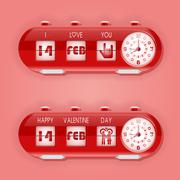 Valentine day with table flap clocks and number counter Stock Illustration