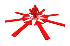 Red team leader on point target around with red arrow. - stock illustration