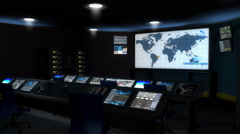 Artist rendering, high-tech command center room. Stock Footage