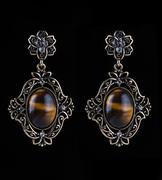 Bronze earrings with jewels on the black Stock Photos