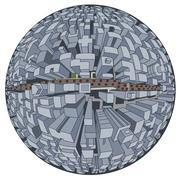 Sci-fi cartoon - City of future Piirros