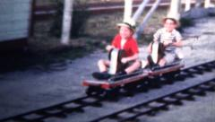 1958 - Kids On Midget Racers Ride In Florida Vacation Stock Footage