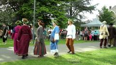 YVOIR, BELGIUM - JUNE 28 2015: Medieval festival of Maka in Yvoir. Dancers. Stock Footage