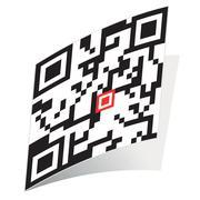 Square QR-code sticker Stock Illustration