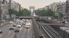 Paris city commute, commuting scene subway train on rail moving, cars drive slow Stock Footage