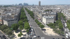 Blue sky above Paris city, aerial view, street and building, french symbol, art - stock footage