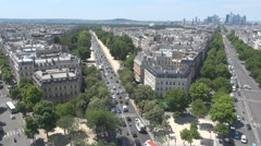 Blue sky above Paris city, aerial view, street and building, french symbol, art Stock Footage