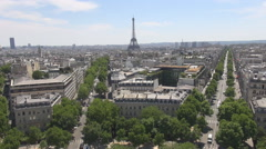 Green trees in summer on champs elysees avenue, aerial car traffic, eiffel tower Stock Footage