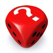 Red question mark dice - stock illustration