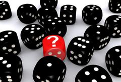Stock Illustration of Red question mark dice standing out