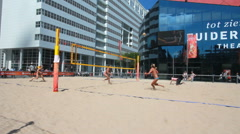 Ladies Beach Volleyball Stock Footage