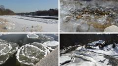 Ice floe floating on river water in winter season beautiful tale Stock Footage