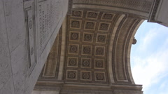 Under Arch of Triumph in Paris, architectural detail, columns in french culture - stock footage