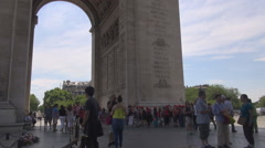 Vacation holiday in France summer in Paris tourist under triumphal arch, culture - stock footage