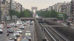 Headlights on twilight day time, Paris car traffic, La Defense esplanade shot - stock footage