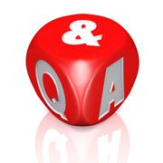 Questions and answers dice with reflection - stock illustration