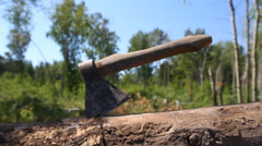 Background ax for chopping wood Stock Footage