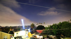 Time Lapse of LAPD Helicopter Searching for Suspect at Night -Zoom In- Stock Footage
