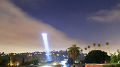 Time Lapse of LAPD Helicopter Searching for Suspect at Night -Zoom Out- Stock Footage