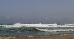 Stock Video Footage of Mediterranean sea, Israeli beach and skyline