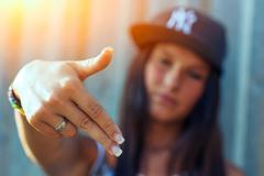 Hip hop rap girl Stock Photos