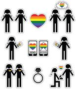Gay women  falling in love and engagement icons set with rainbow element - stock illustration