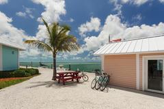 Images of bikes near the marina. - stock photo