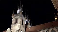 Church of Our Lady before Týn - night - shot from side Stock Footage