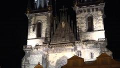 Church of Our Lady before Týn - night Stock Footage