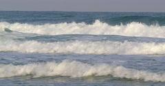 Mediterranean sea, Israeli beach and skyline - stock footage