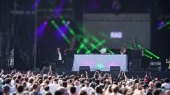 Huge Crowd in Festival, DJ Set - 60fps Stock Footage