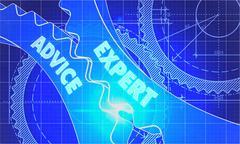 Stock Illustration of Expert Advice Concept. Blueprint of Gears