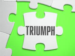 Triumph - Jigsaw Puzzle with Missing Pieces - stock illustration