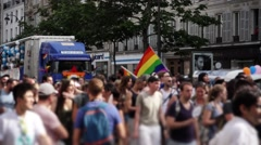 Gay Pride crowd protest Paris, France - 60fps Stock Footage