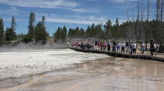 Fountain Paint Pot geyser crowd boardwalk Yellowstone 4K Stock Footage