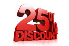 3D render red text 25 percent discount Stock Illustration