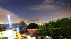 4K time lapse of LAPD Helicopter Searching for Suspect at Night -Pan Left- Stock Footage