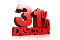 3D render red text 31 percent discount Stock Illustration