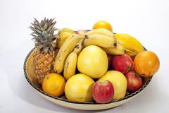 Studio Shot of Assortment of Fresh Fruit Stock Photos