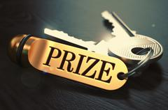 Prize - Bunch of Keys with Text on Golden Keychain Stock Illustration