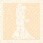 bride, groom and lace - stock illustration