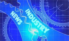 Industry News on the Cogwheels. Blueprint Style - stock illustration