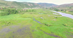 Aerial view of typical resedential area in North America. Stock Footage