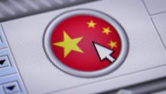 Press button with flag of China. - stock footage