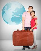 Young couple planning to travel around the world Stock Photos
