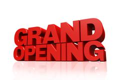 3D red text grand opening - stock illustration